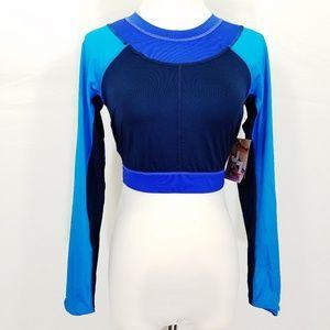 JoyLab Color Block Long Sleeve Crop Top Bluel NWT
